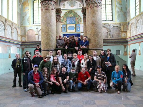 The group of tour guides at the Shtetl Routes seminar in the synagogue in Łańcut