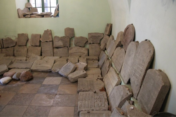 Matzevot in the hall collected at the vandalised Jewish cemeteries of Łańcut