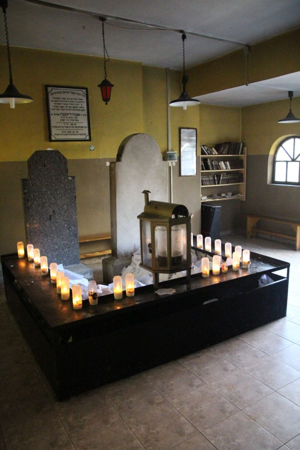 The interior of the ohel at the Jewish cemetery in Rymanów