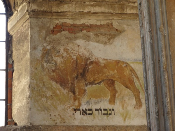 A polychromy depicting a lion on the wall of the synagogue in Rymanów