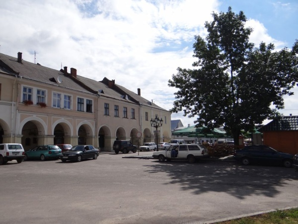 The historic architectural ensemble of the market square in Zhovkva