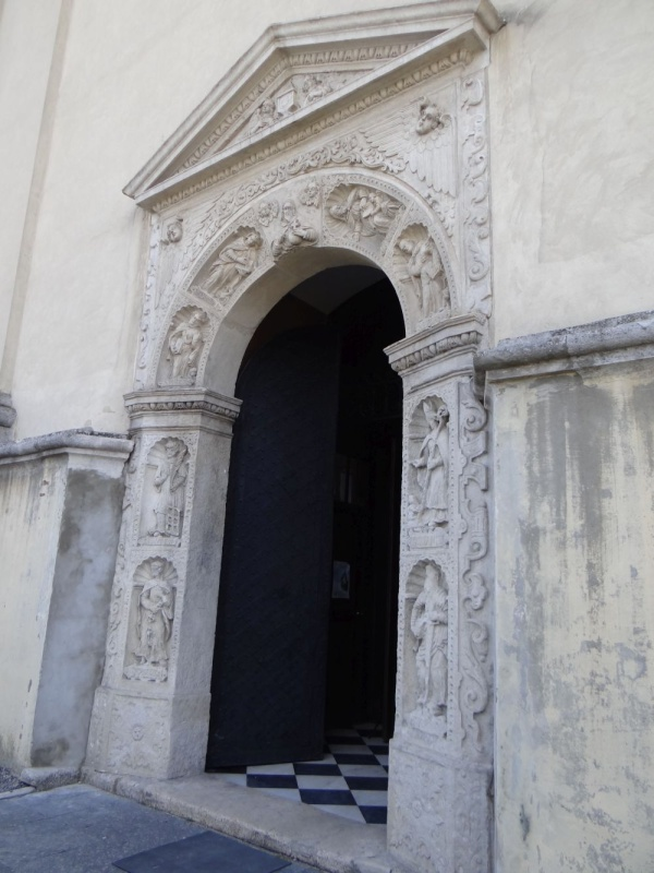 Decorative portal of the Church of St Lawrence in Zhovkva