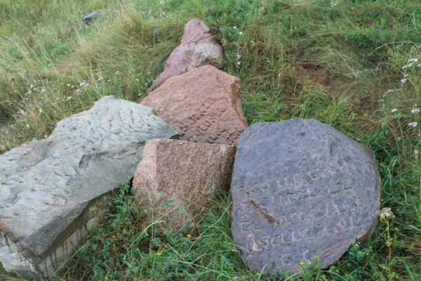 Fragments of matzevot at the Jewish cemetery in Kobryn