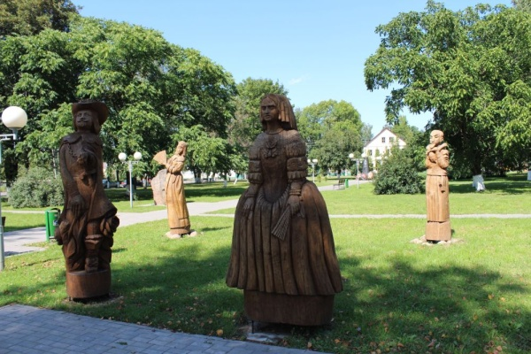 Wooden sculptures at the park in the centre of Ruzhany
