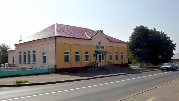Pre-war buildings at the market square in Indura