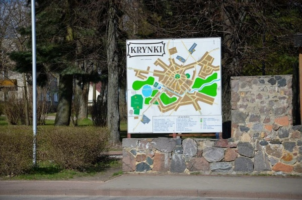 Krynki, a board in the town centre